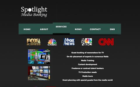 Screenshot of Services Page spotlightmediabooking.com - Spotlight Media Booking Services | Spotlight Media Booking - captured Oct. 1, 2014