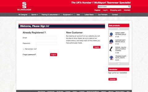 Screenshot of Login Page surridgesport.co.uk - Surridge Sport - Login - captured Sept. 30, 2014