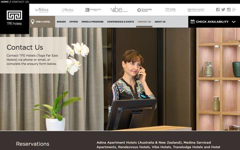 Screenshot of Contact Page tfehotels.com - TFE Hotels Đ Contact Us - captured Jan. 12, 2016