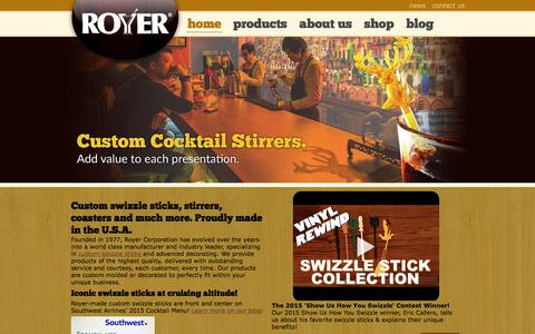 Screenshot of Home Page royercorp.com - Swizzle Sticks, Stirrers, Picks & More | Royer Corporation - captured Feb. 1, 2016