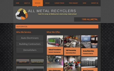 Screenshot of Services Page allmetalrecyclers.com - Our Services - All Metal Recyclers - captured Nov. 20, 2016