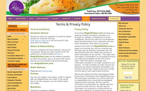 Screenshot of Privacy Page Terms Page magickitchen.com - Terms & Privacy Policy: MagicKitchen.com Meals Make Delicious Gifts - captured Feb. 4, 2016
