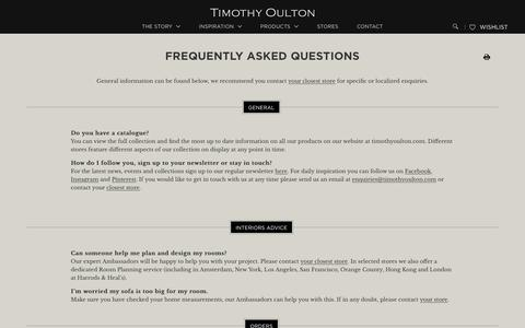 Screenshot of FAQ Page timothyoulton.com - Frequently Asked Questions - captured Dec. 3, 2016