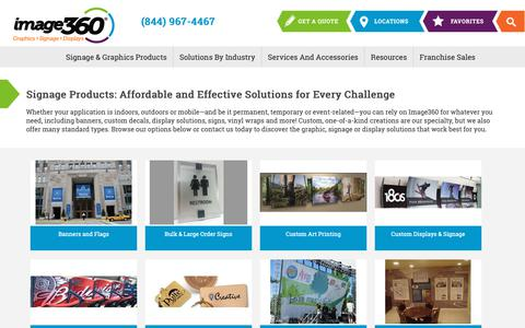 Screenshot of Products Page image360.com - Products - Image360 Signs Corporate - Banners, Graphics, Vehicle Wraps and Displays - captured Nov. 6, 2018