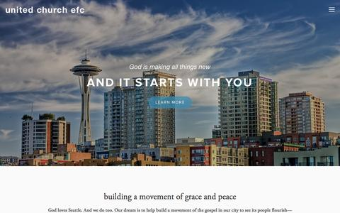 Screenshot of Home Page unitedefc.org - united church efc - captured Oct. 6, 2014