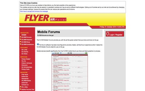 Screenshot of Trial Page flyer.co.uk - FLYER Mobile Forum Trial - captured Oct. 31, 2014
