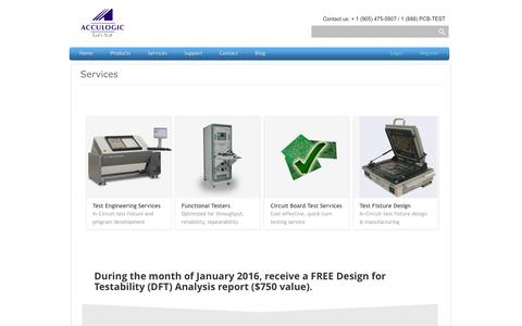 Screenshot of Services Page acculogic.com - Circuit Board Test Engineering, Test Services and Test Systems | Acculogic Inc. - captured Jan. 12, 2016