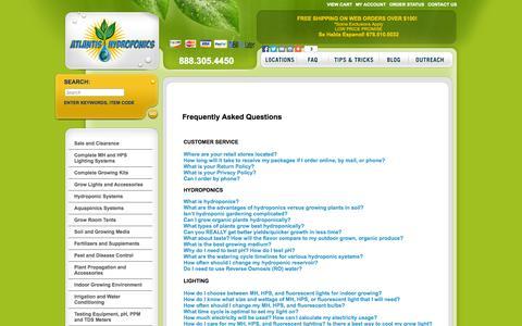 Screenshot of FAQ Page atlantishydroponics.com - Atlantis Hydroponics - captured Sept. 30, 2014