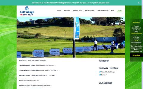 Screenshot of Contact Page thegolfvillage.co.za - Contact - The Golf Village - captured Oct. 1, 2014