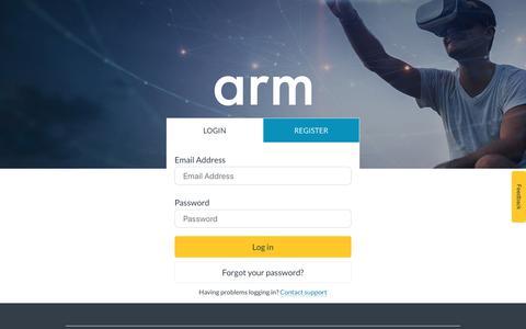 Screenshot of Login Page arm.com - Login – Arm - captured June 20, 2019