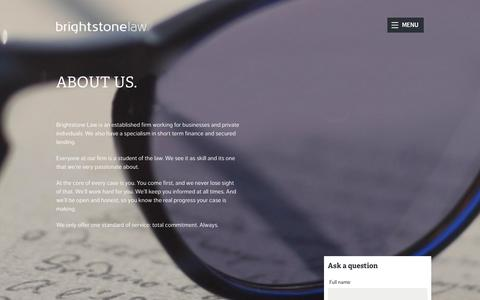 Screenshot of About Page brightstonelaw.co.uk - About us - Brightstone - captured Feb. 8, 2016