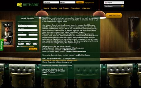 Screenshot of Support Page bethard.com - BetHard.com - Casino & Sports on your computer and mobile - captured Dec. 2, 2015