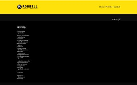 Screenshot of Site Map Page robbell.be - Site Map | ® Robbell | grafisch design + webdesign Gent - captured Oct. 7, 2014