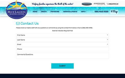 Screenshot of Contact Page bluelagoonbc.com - Contact Us   Blue Lagoon Boating Center   Harrison Township Michigan - captured July 5, 2018