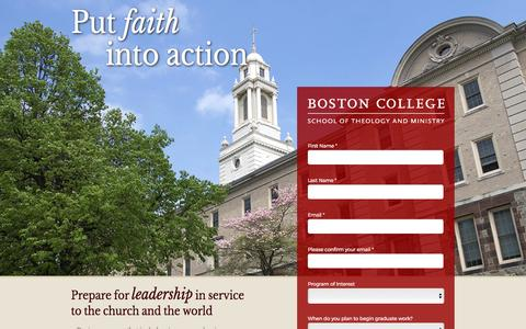 Screenshot of Landing Page bc.edu - Learn More - School of Theology & Ministry - Boston College - captured April 28, 2017