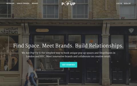Screenshot of Home Page wearepopup.com - Find Space. Meet Brands. Build Relationships. | We Are Pop Up - captured Jan. 17, 2016