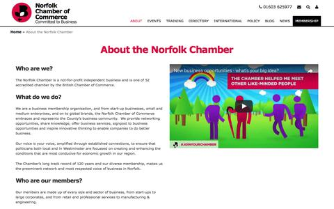 Screenshot of About Page norfolkchamber.co.uk - About the Norfolk Chamber | Norfolk Chamber of Commerce - captured July 24, 2017
