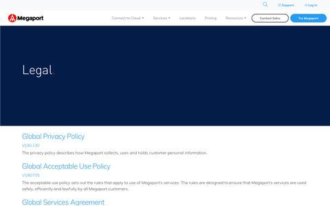 Screenshot of Terms Page megaport.com - Legal | Megaport Networks - captured April 17, 2019