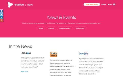 Screenshot of Press Page elastica.net - News and Events - Elastica - captured Sept. 16, 2014
