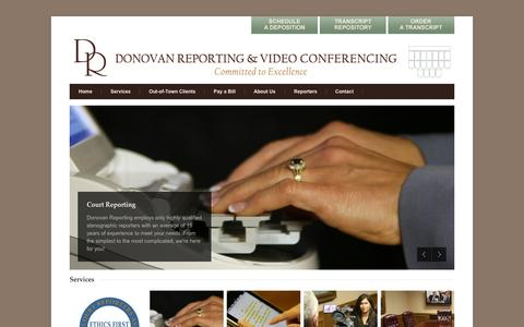 Screenshot of Home Page donovanreporting.com - Donovan Reporting & Video Conferencing   Atlanta Court Reporting   Georgia Certified Court Reporters   Deposition Services - captured Oct. 5, 2014