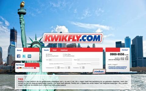 Screenshot of FAQ Page kwikfly.com - FAQ - Goedkope Vliegtickets, Goedkope Vluchten - captured Oct. 6, 2014