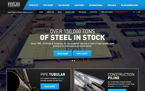 Screenshot of Home Page jdfields.com - Steel Pipe, Steel Tube, Steel Sheet Suppliers in USA - captured Oct. 1, 2014