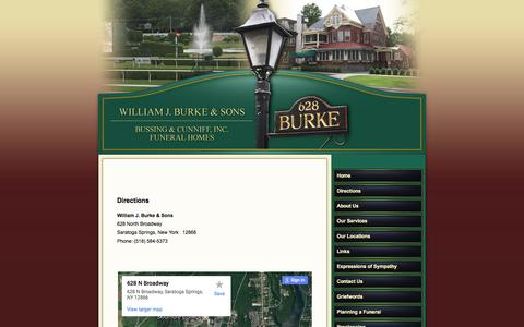 Screenshot of Maps & Directions Page burkefuneralhome.com - BURKE & SONS FUNERAL HOME - captured Oct. 27, 2017