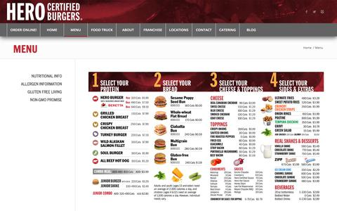 Screenshot of Menu Page heroburgers.com - Menu – Hero Certified Burgers - captured Sept. 22, 2018