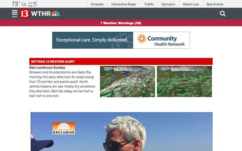 Screenshot of Home Page wthr.com - Indianapolis News | Indiana Weather | Sports - 13 WTHR Indianapolis - captured Aug. 14, 2016