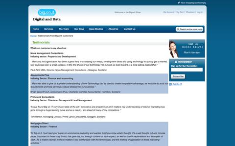 Screenshot of Testimonials Page bigonit.com - Testimonials from Bigonit customers - captured Sept. 26, 2014