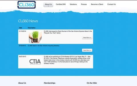 Screenshot of Press Page cli360.com - News - CLi360 - captured Sept. 26, 2014