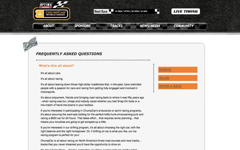 Screenshot of FAQ Page chumpcar.com - ChumpCar World Series | faq - captured Sept. 19, 2014