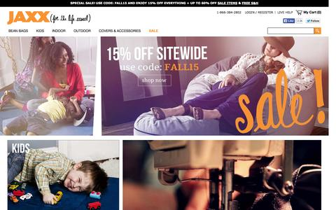 Screenshot of Home Page jaxxbeanbags.com - Jaxx Bean Bags | American-Made Beanbags and Furniture for Casual Living | Jaxxliving.com - captured Oct. 1, 2014