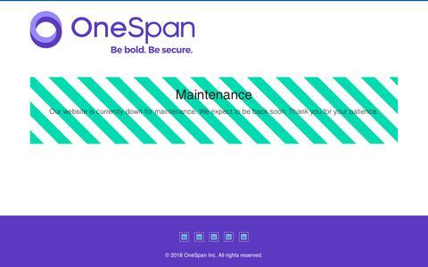 Screenshot of Support Page vasco.com - Maintenance - VASCO Data Security - captured Aug. 2, 2019