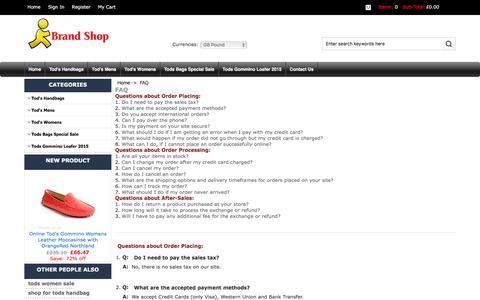 Screenshot of FAQ Page t3web.co.uk - FAQ : Outlet Tod's Handbags, Shop Boots, Online Bags - captured Jan. 10, 2016