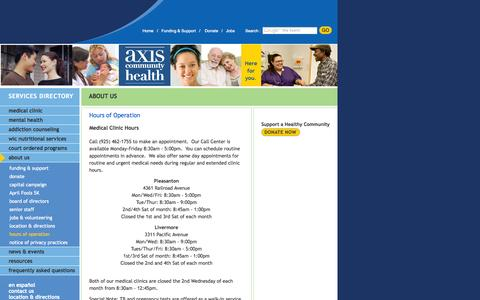 Screenshot of Hours Page axishealth.org - Hours of Operation - captured Oct. 4, 2014
