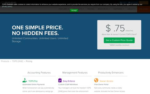 Screenshot of Pricing Page topssoft.com - TOPS [ONE] Pricing - captured Aug. 18, 2018