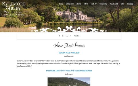 Screenshot of Press Page kylemoreabbey.com - News and Events Archives - Kylemore Abbey - captured May 8, 2017
