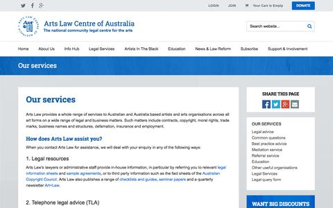 Screenshot of Services Page artslaw.com.au - Arts Law : Our services - captured Oct. 1, 2015