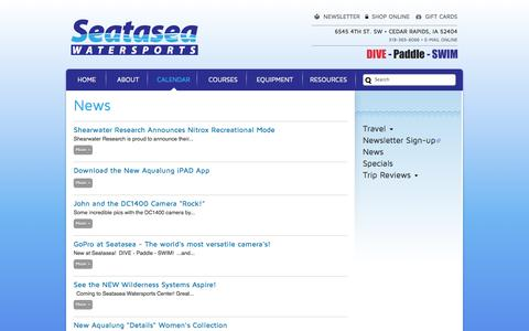 Screenshot of Press Page seatasea.com - News | Seatasea Watersports Center | The Midwest's Source for Scuba, Snorkeling, Kayaking, Canoeing, Swimming and Triathlon - captured Oct. 6, 2014