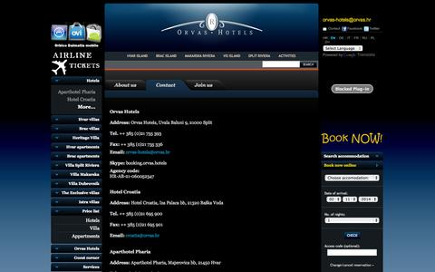 Screenshot of Contact Page orvas-hotels.com - Contact Croatia - captured Nov. 1, 2014
