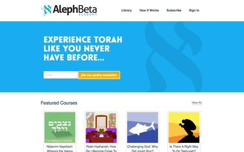 Screenshot of Login Page alephbeta.org - Torah Courses and Lectures - AlephBeta - captured Sept. 19, 2014