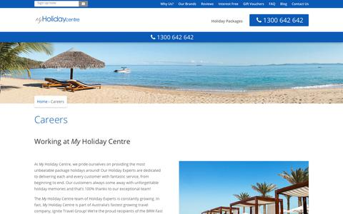 Screenshot of Jobs Page myholidaycentre.com.au - Careers at My Holiday Centre & Ignite Travel Group - captured Sept. 21, 2018
