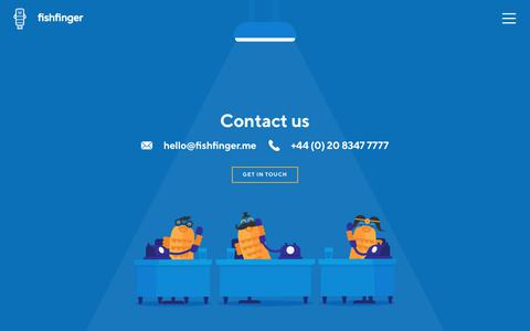 Screenshot of Contact Page fishfinger.me - Contact Us | Fishfinger Creative Agency - captured Oct. 1, 2018