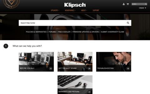 Screenshot of Support Page klipsch.com - Support   Education, Info & Contact Us   Klipsch - Support - captured March 7, 2019
