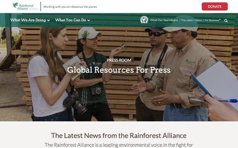 Screenshot of Press Page rainforest-alliance.org - Press Page   Rainforest Alliance - captured Nov. 1, 2017