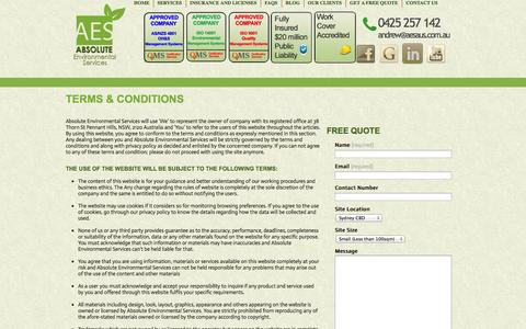 Screenshot of Terms Page aesaus.com.au - Terms & Conditions   0425 257 142 - captured Oct. 4, 2014