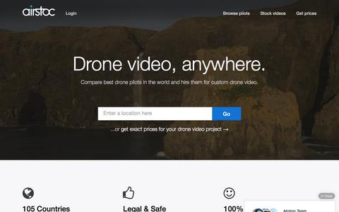 Screenshot of Home Page airstoc.com - Airstoc: Get Drone Video - captured June 25, 2016