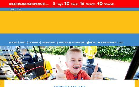 Screenshot of Contact Page diggerland.com - Contact Us - DIGGERLAND - captured Feb. 9, 2016