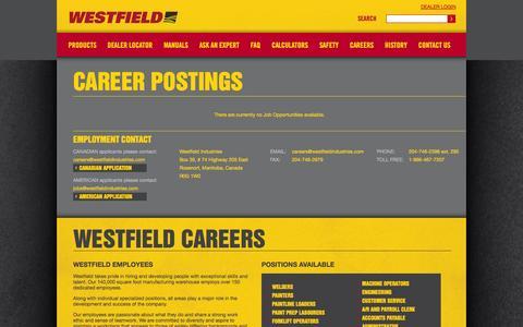 Screenshot of Jobs Page grainaugers.com - - Westfield Careers - captured Oct. 26, 2014